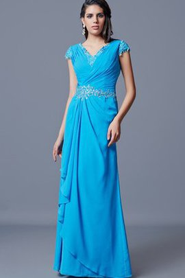 Long Capped Sleeves Chiffon Appliques Short Sleeves Evening Dress
