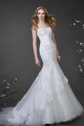 Natural Waist Tulle Strapless Ruched Beading Wedding Dress
