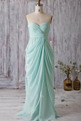 Strapless Sweep Train Chiffon Long Bridesmaid Dress