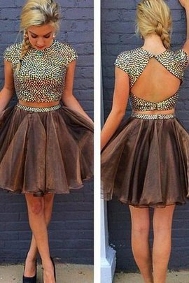Zipper Up A-Line Beading 2 Piece Sleeveless Homecoming Dress