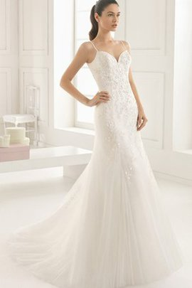 Spaghetti Straps Demure Appliques Hall Sweep Train Wedding Dress