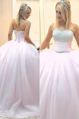 Natural Waist Floor Length Tulle Beading Ball Gown Evening Dress