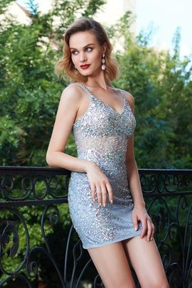 Sequined Sequins Natural Waist Sheath Sleeveless Cocktail Dress