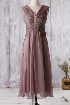 V-Neck Chiffon Simple Ankle Length Chic & Modern Bridesmaid Dress