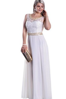 Chiffon Lace Empire Waist Sleeveless Scoop Prom Dress