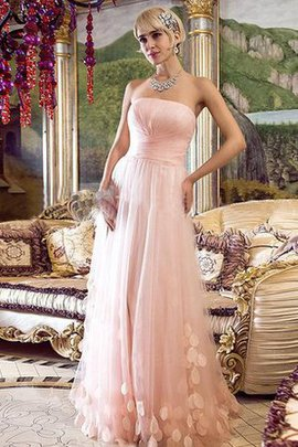 A-Line Appliques Strapless Sleeveless Evening Dress