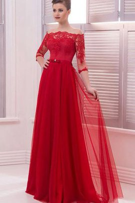 Button 3/4 Length Sleeves Natural Waist Off The Shoulder Lace Evening Dress