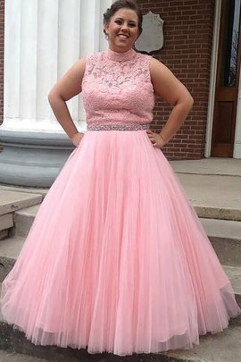 Plus Size Tulle Natural Waist Sleeveless High Neck Prom Dress