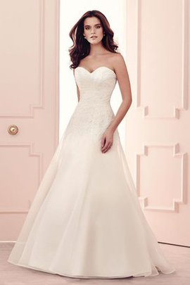 Strapless Simple A-Line Sweep Train Chiffon Wedding Dress