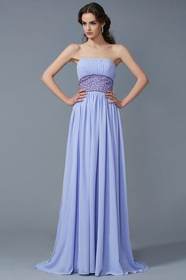 Beading Zipper Up A-Line Sweep Train Chiffon Evening Dress