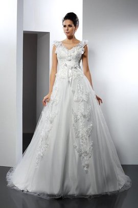 Lace Satin A-Line Sleeveless Empire Waist Wedding Dress