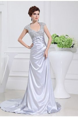 Zipper Up Sleeveless A-Line Elastic Woven Satin Prom Dress