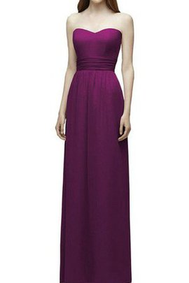 Chiffon Floor Length Strapless Sheath Ruched Bridesmaid Dress