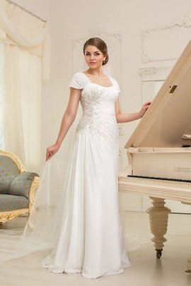 Square Lace-up Chic & Modern Short Sleeves Plus Size Wedding Dress