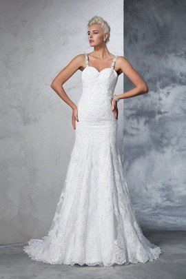 Chapel Train Natural Waist Mermaid Sleeveless Lace Wedding Dress