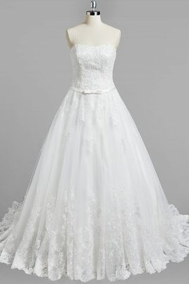 A-Line Strapless Lace Fabric Sleeveless Wedding Dress