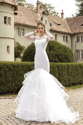 Natural Waist Long Sleeves Floor Length Keyhole Back Wedding Dress