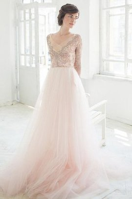 Beading V-Neck Lace Fabric Flowers Court Train Wedding Dress