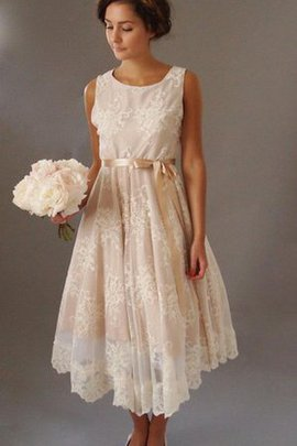 Sleeveless Simple Vintage Tea Length Wedding Dress