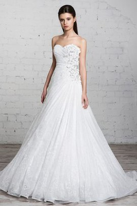 Sleeveless Lace Fabric Floor Length Ruffles A-Line Wedding Dress