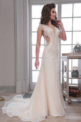 Deep V-Neck Sheath Floor Length Beading Wedding Dress