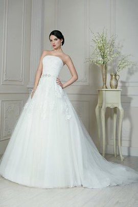 Organza Natural Waist A-Line Strapless Wedding Dress