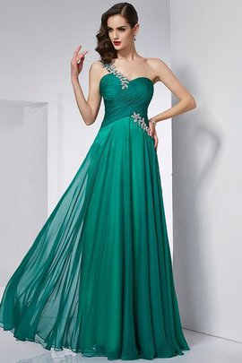 Natural Waist One Shoulder A-Line Long Prom Dress