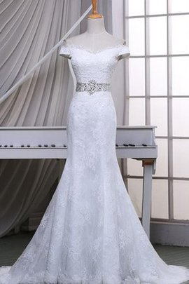 Beading Capped Sleeves Lace-up Long Mermaid Wedding Dress