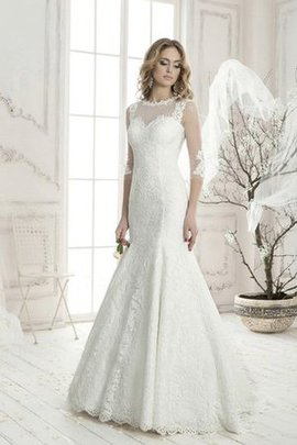 3/4 Length Sleeves Lace Bateau Appliques Wedding Dress