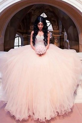 Sweep Train Natural Waist Ball Gown Sweetheart Beading Wedding Dress