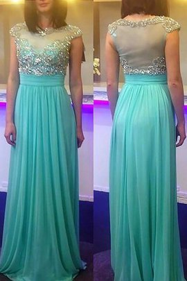Sleeveless Princess Beading Natural Waist Chiffon Evening Dress