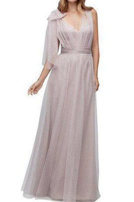 Draped V-Neck A-Line Tulle Ruched Bridesmaid Dress