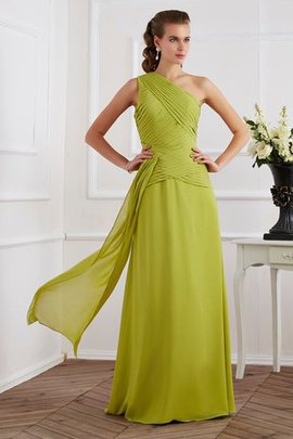 One Shoulder Sleeveless Natural Waist Princess Chiffon Evening Dress