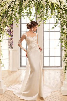 Sheath Scoop Satin Appliques Elegant & Luxurious Wedding Dress