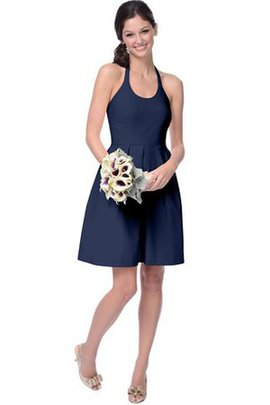 Sleeveless Zipper Up Short A-Line Halter Bridesmaid Dress