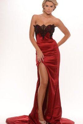 Sheath Lace Zipper Up Satin Sleeveless Evening Dress