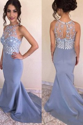 Pretty Sweep Train Mermaid Natural Waist Jewel Sleeveless Satin Prom Dress
