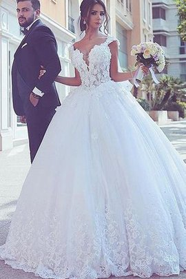 Romantic Sweep Train Tulle Ball Gown Formal Misses Unique Wedding Dress
