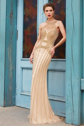 Natural Waist Beading Zipper Up Sleeveless Sheath Evening Dress