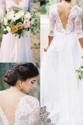 Outdoor Sweep Train Backless Embroidery Chiffon Long Marvelous Wedding Dress