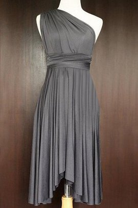 A-Line Pleated Sleeveless One Shoulder Ruched Bridesmaid Dress