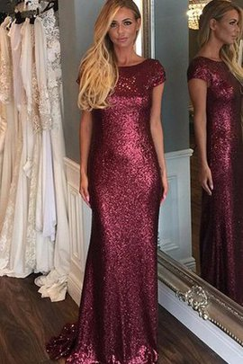 Scoop Sequins Deep V-Neck Short Sleeves Capped Sleeves Bridesmaid Dress