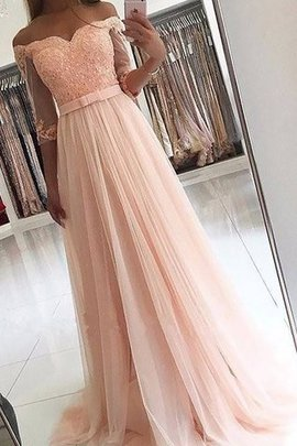 Natural Waist Sweep Train 3/4 Length Sleeves Tulle Princess Evening Dress