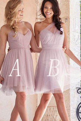 Short Tulle Sleeveless A-Line Bridesmaid Dress