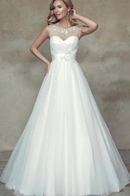 Long Floor Length Beading Scoop Natural Waist Wedding Dress