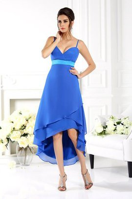 Asymmetrical Spaghetti Straps Chiffon A-Line Sleeveless Bridesmaid Dress