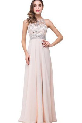 Chiffon Floor Length Beading A-Line Zipper Up Evening Dress