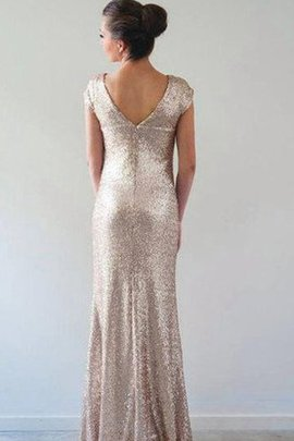 Short Sleeves Capped Sleeves Sequined Floor Length Sequins Bridesmaid Dress