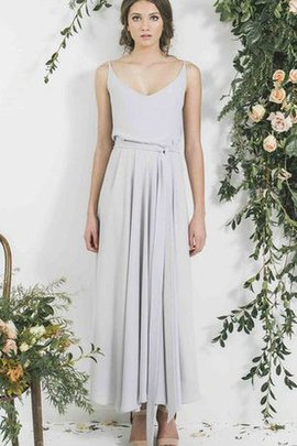 Chiffon Simple Elegant & Luxurious Spaghetti Straps Sleeveless Bridesmaid Dress