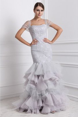 Wide Straps Floor Length Natural Waist Short Sleeves Ruffles Prom Dress